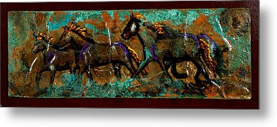 Running Horses Metal Print by Laurie Tietjen