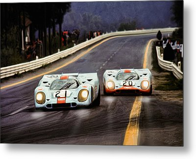 Running One Two Metal Print by Peter Chilelli