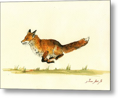 Running Red Fox Metal Print by Juan  Bosco