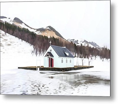 Rural Church In Iceland Metal Print by Tom and Pat Cory