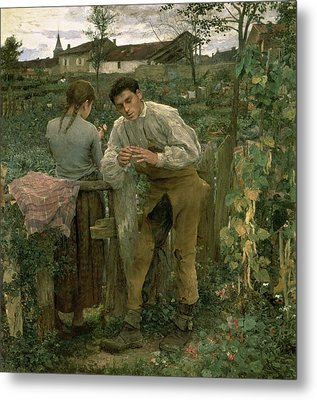 Rural Love Metal Print by Jules Bastien Lepage