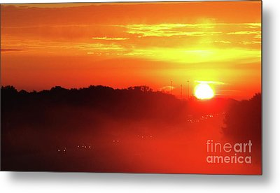 Rush Hour Begins At Sunrise I 94 To Madison Wisconsin Metal Print