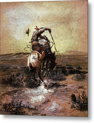 Russell Charles Marion A Slick Rider Metal Print by Charles Marion Russell
