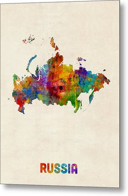 Russia Watercolor Map Metal Print by Michael Tompsett