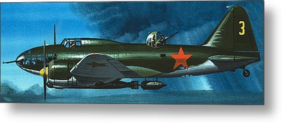 Russian Aircraft Of World War Two  Russian Ilyushin Bomber Metal Print by Wilf Hardy