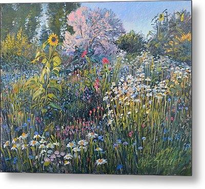 Metal Print featuring the painting Russian Olive Among Daisies by Steve Spencer