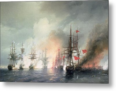 Russian Turkish Sea Battle Of Sinop Metal Print by Ivan Konstantinovich Aivazovsky