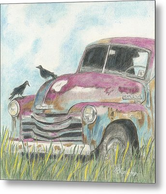 Metal Print featuring the drawing Rust In Peace by Arlene Crafton