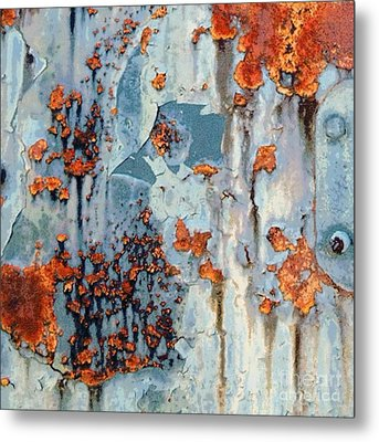 Rusted World - Orange And Blue - Abstract Metal Print by Janine Riley
