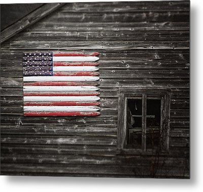 Rustic American Flag On A Weathered Grey Barn Metal Print