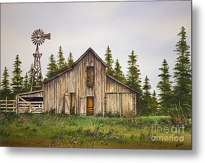 Metal Print featuring the painting Rustic Barn by James Williamson