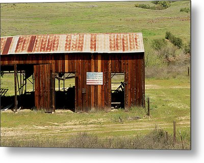 Metal Print featuring the photograph Rustic Barn With Flag by Art Block Collections