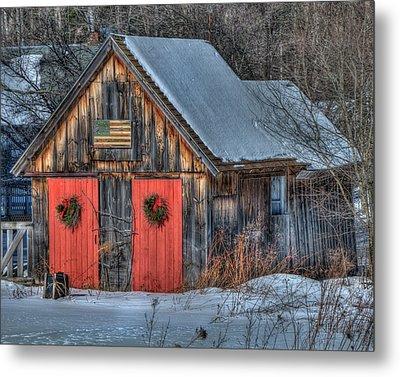 Rustic Barn With Flag In Snow Metal Print by Joann Vitali