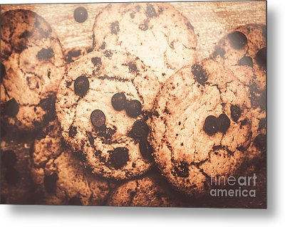 Rustic Chocolate Chip Cookie Snack Metal Print by Jorgo Photography - Wall Art Gallery