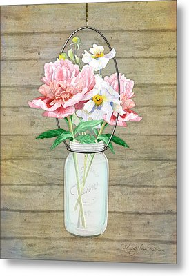 Rustic Country Peony N Poppy Mason Jar Bouquet On Wooden Fence Metal Print by Audrey Jeanne Roberts