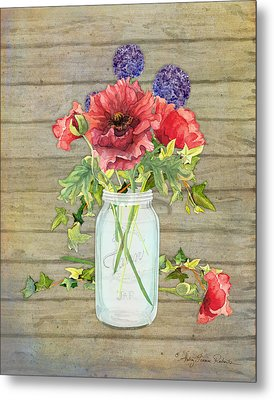 Rustic Country Red Poppy W Alium N Ivy In A Mason Jar Bouquet On Wooden Fence Metal Print by Audrey Jeanne Roberts