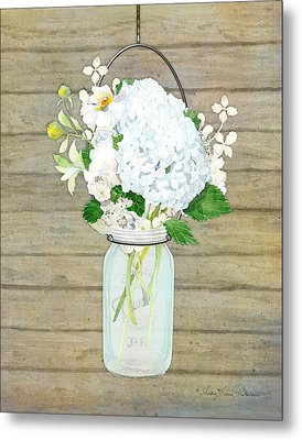 Rustic Country White Hydrangea N Matillija Poppy Mason Jar Bouquet On Wooden Fence Metal Print by Audrey Jeanne Roberts