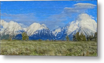 Rustic Grand Teton Range On Wood Metal Print by Dan Sproul