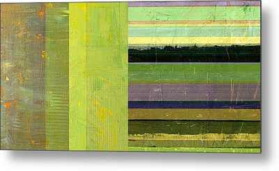 Metal Print featuring the painting Rustic Green Flag With Stripes by Michelle Calkins