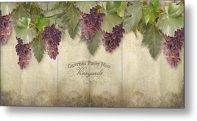 Rustic Vineyard - Pinot Noir Grapes Metal Print