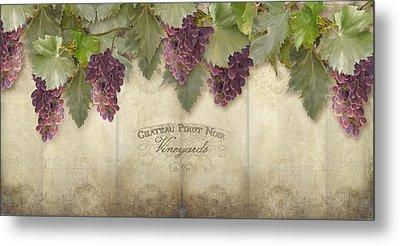 Rustic Vineyard - Pinot Noir Grapes Metal Print by Audrey Jeanne Roberts
