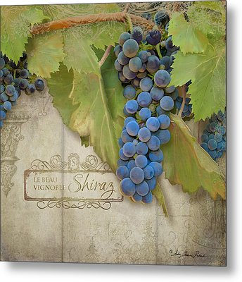 Rustic Vineyard - Shiraz Wine Grapes Over Stone Metal Print