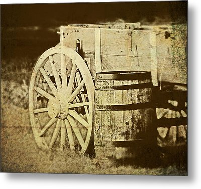 Rustic Wagon And Barrel Metal Print by Tom Mc Nemar