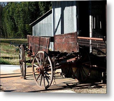 Rustic Wagon Metal Print by Cathy Harper