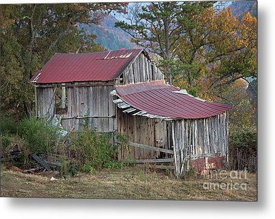 Metal Print featuring the photograph Rustic Weathered Hillside Barn by John Stephens