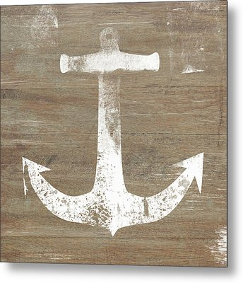 Metal Print featuring the mixed media Rustic White Anchor- Art By Linda Woods by Linda Woods