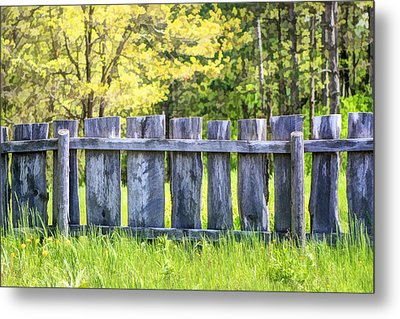 Rustic Wooden Fence At Old World Wisconsin Metal Print by Christopher Arndt