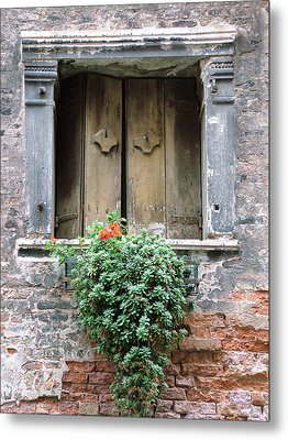 Rustic Wooden Window Shutters Metal Print by Donna Corless
