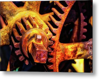 Rusting Train Yard Gear Metal Print