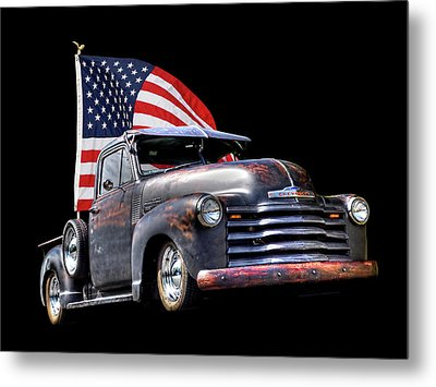 Rusty 1951 Chevy Truck With Us Flag Metal Print by Gill Billington
