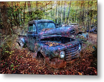 Metal Print featuring the photograph Rusty Blue Vintage Ford  Truck by Debra and Dave Vanderlaan
