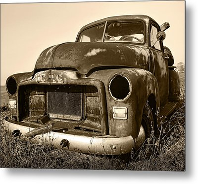 Rusty But Trusty Old Gmc Pickup Truck - Sepia Metal Print