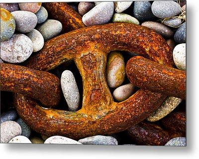 Rusty Chain Metal Print by Gabor Pozsgai