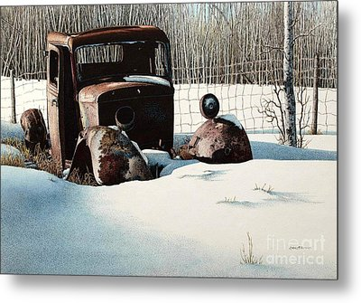 Rusty In Alberta Metal Print by Robert Hinves
