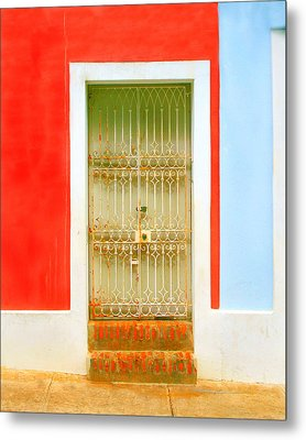 Rusty Iron Door Metal Print by Perry Webster