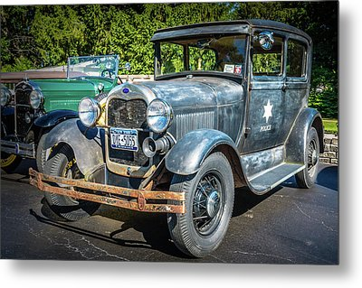 Rusty Old Cop Car Metal Print by Guy Whiteley