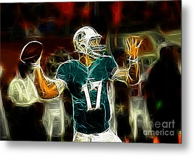 Ryan Tannehill - Miami Dolphin Quarterback Metal Print by Paul Ward
