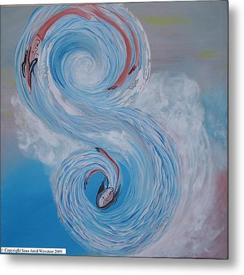 Metal Print featuring the painting S Waves by Sima Amid Wewetzer