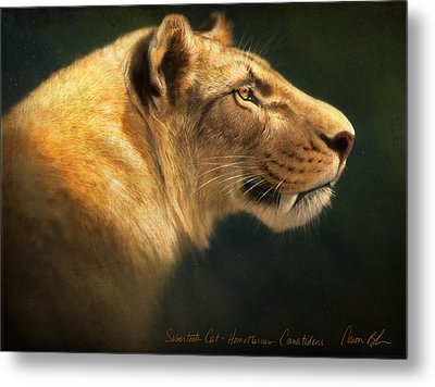 Metal Print featuring the digital art Sabertooth- Homotherium Crenatidens by Aaron Blaise