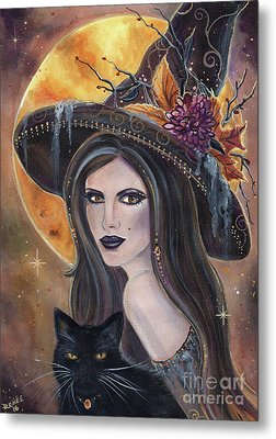 Sable And Salem Halloween Witch Metal Print