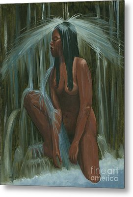 Sacagawea In The Water Cave Metal Print