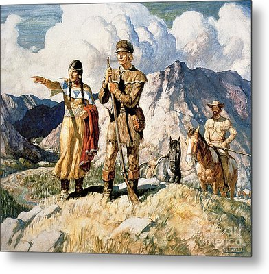Sacagawea With Lewis And Clark During Their Expedition Of 1804-06 Metal Print