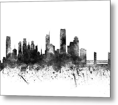 Sacramento California Cityscape 02bw Metal Print by Aged Pixel