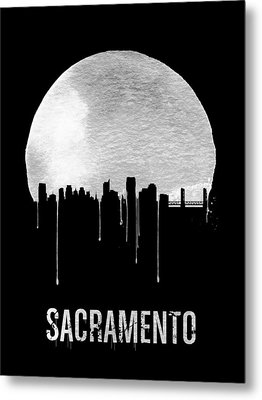 Sacramento Skyline Black Metal Print by Naxart Studio