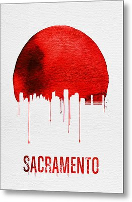 Sacramento Skyline Red Metal Print by Naxart Studio