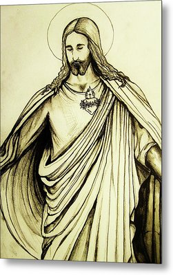 Metal Print featuring the drawing Sacred Heart by Mary Ellen Frazee